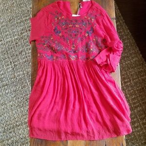 Umgee Red embroidered  Babydoll dress
